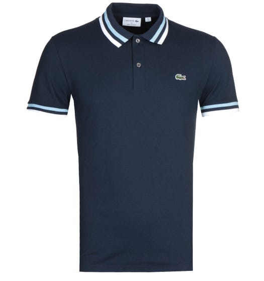 Lacoste Twin Tipped Navy MC Homme Polo Shirt