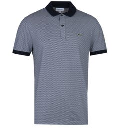 Lacoste Contrast Fine Pattern Regular Fit Navy & White Polo Shirt