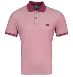 CP Company Short Sleeve Contrast Collar Red Polo Shirt