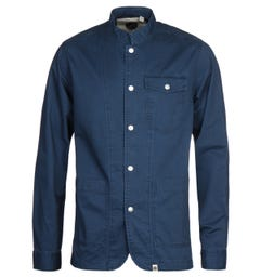Pretty Green Collarless Navy Overshirt