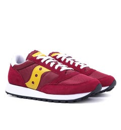 Saucony Jazz Vintage Burgundy & Yellow Suede Trainers