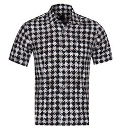 Pretty Green Black Houndstooth Short Sleeve Mallard Shirt