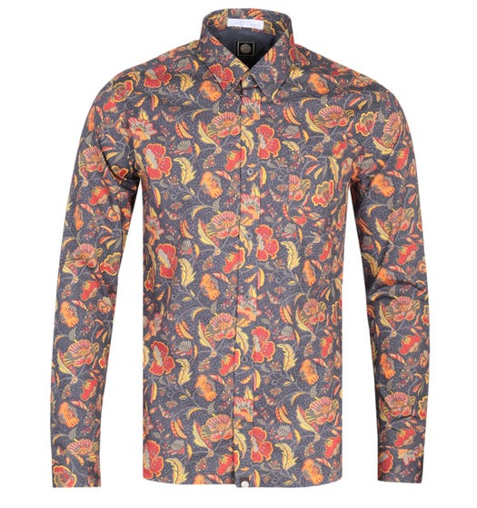 Pretty Green Slim Fit Liberty Cavell Long Sleeve Mid Grey Shirt