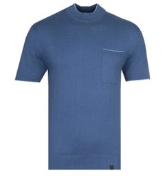 Pretty Green Contrast Tipped High Neck Blue Kitted T-Shirt