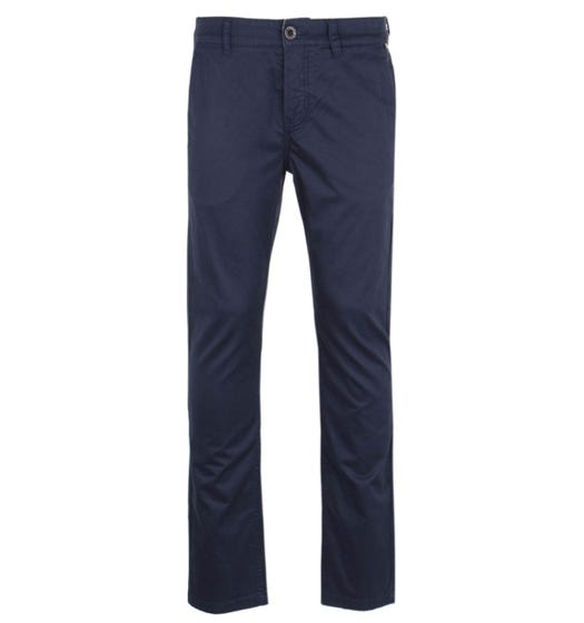 Pretty Green Slim Fit V-Notch Waistband Navy Chino Trousers