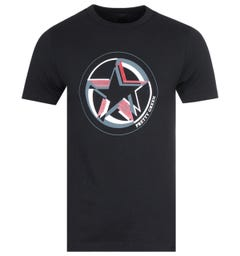 Pretty Green Star Print Black T-Shirt