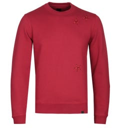 Pretty Green Star Embroidery Red Crew Neck Sweatshirt