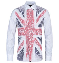 Pretty Green Union Jack Print Long Sleeve Stone Shirt