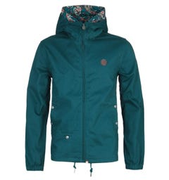 Pretty Green Cotton Zip-Through Teal Hooded Jacket