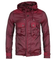Pretty Green Iridescent Burgundy Hooded Jacket