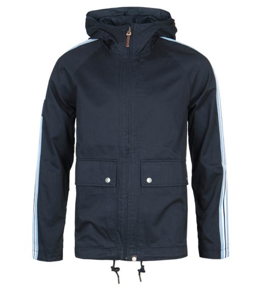 Pretty Green Contrast Stripe Navy Hooded Jacket