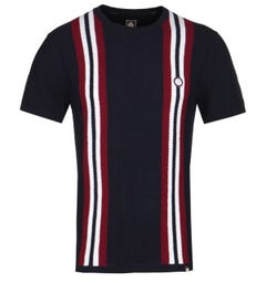Pretty Green Twin Stripe Navy Knitted T-Shirt