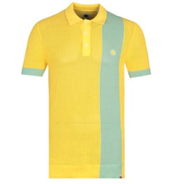 Pretty Green Contrasting Stripe Yellow Knitted Polo Shirt