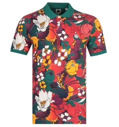 Pretty Green Floral Print Orange Polo Shirt