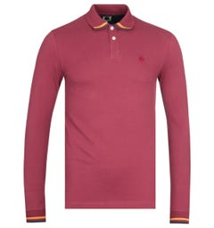 Pretty Green Tipped Long Sleeve Red Polo Shirt