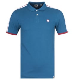 Pretty Green Contrast Panel Blue Polo Shirt