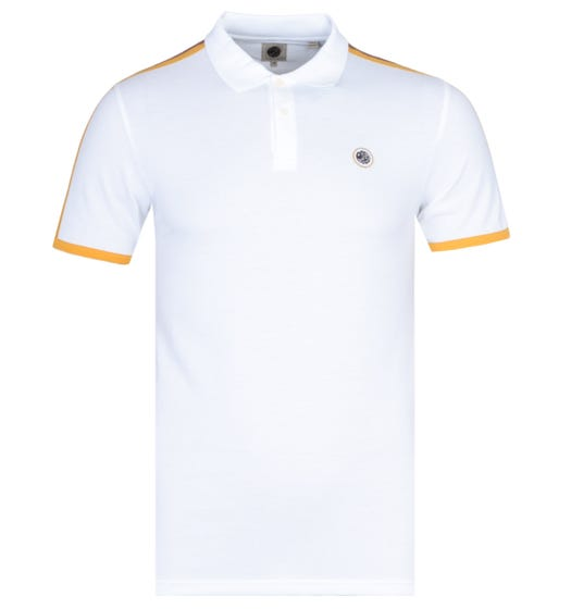 Pretty Green Contrast Panel White Polo Shirt