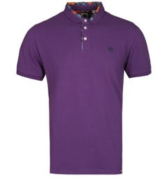 Pretty Green Floral Print Purple Polo Shirt