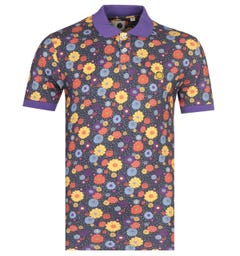 Pretty Green Slim Fit Floral Print Purple Polo Shirt