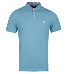 Pretty Green Paisley Print Collar Blue Polo Shirt