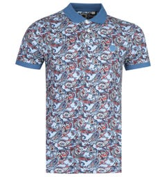 Pretty Green Paisley Print Blue Polo Shirt