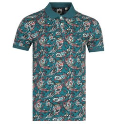 Pretty Green Paisley Print Teal Polo Shirt