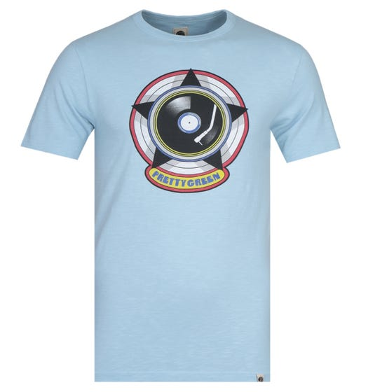 Pretty Green Vinyl Print Blue T-Shirt