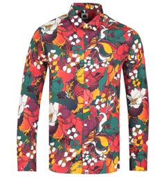 Pretty Green Slim Fit Floral Print Orange Shirt