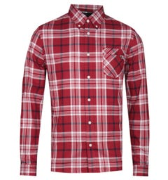 Pretty Green Large Red Check Long Sleeve Shirt