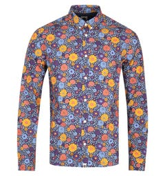 Pretty Green Slim Fit Floral Print Purple Shirt