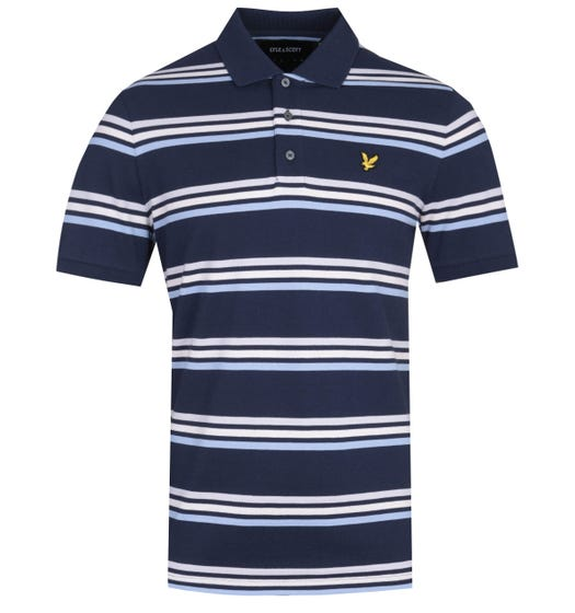 Lyle & Scott Multi-Stripe Navy Polo Shirt