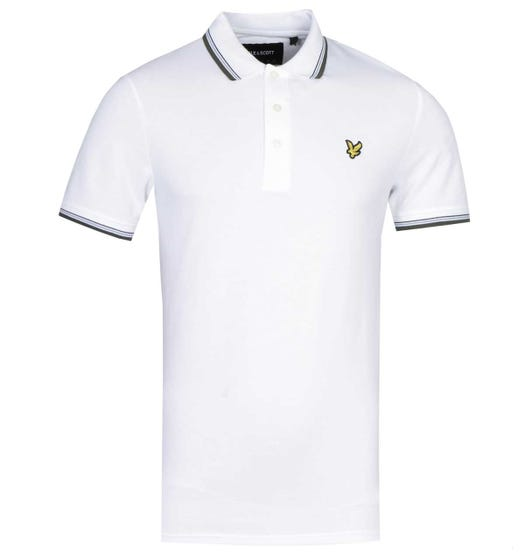 Lyle & Scott Slim Fit Tipped Polo Shirt - White & Olive
