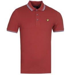 Lyle & Scott Slim Fit Tipped Brick Red & Blue Dust Polo Shirt