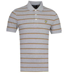 Lyle & Scott Block Stripe Mid Grey Marl Polo Shirt