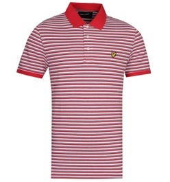 Lyle & Scott Contrast Stripe Short Sleeve Gala Red Polo Shirt