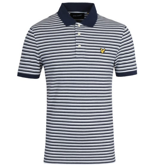 Lyle & Scott Contrast Stripe Short Sleeve Navy Polo Shirt