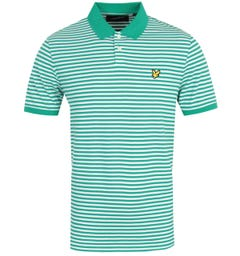 Lyle & Scott Two Colour Striped Polo Shirt - Aqua Salt