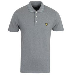 Lyle & Scott Mid Grey Marl Wide Tipped Polo Shirt