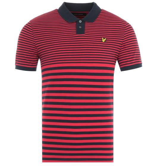 Lyle & Scott Multi Stripe Polo Shirt - Dark Navy & Chilli Pepper Red