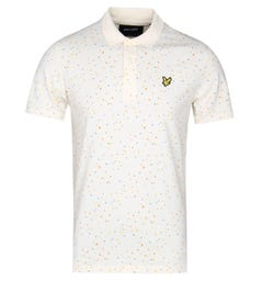 Lyle & Scott Climbing Wall Print Seashell White Polo Shirt