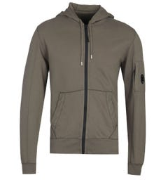 CP Company Zip-Through Olive Lens Hoodie