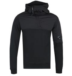 CP Company Quarter-Zip Contrast Shell Black Hooded Sweatshirt