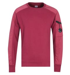 CP Company Panelled Red Sweatshirt