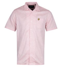 Lyle & Scott Salmon Pink Resort Short Sleeve Panama Shirt