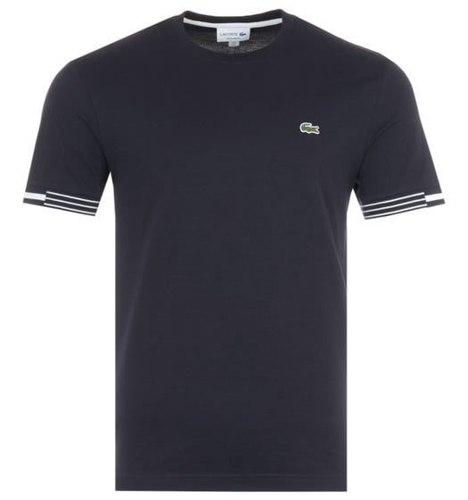 Lacoste Contrasting Stripe Cuffs T-Shirt - Navy