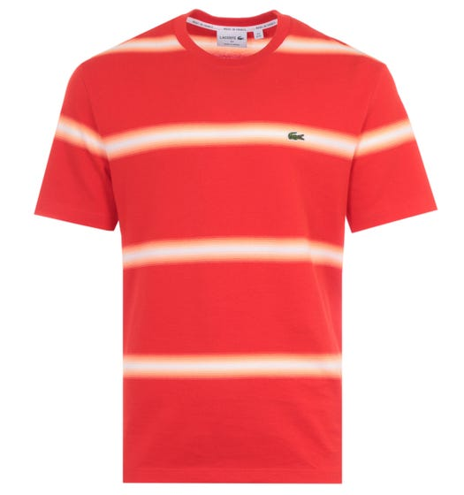 Lacoste Made In France Organic Cotton Stripped T-Shirt - Deep Orange