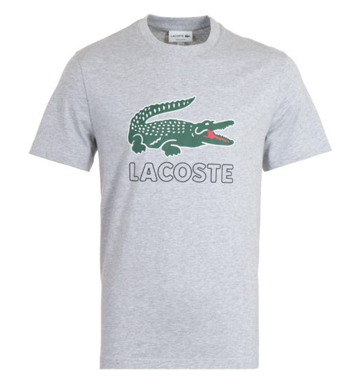 Lacoste Printed Logo Crew Neck Grey T-Shirt