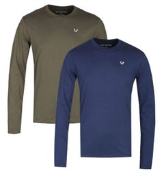 True Religion Two-Pack Long Sleeve Navy & Khaki T-Shirts