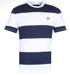 Lyle & Scott Wide Stripe Navy & White T-Shirt