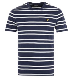 Lyle & Scott Double Stripe T-Shirt - Navy & Vanilla Ice